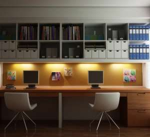 Multuser Computer Stations With Shelving Modern Home Offices Ikea Home Office Office Interior Design