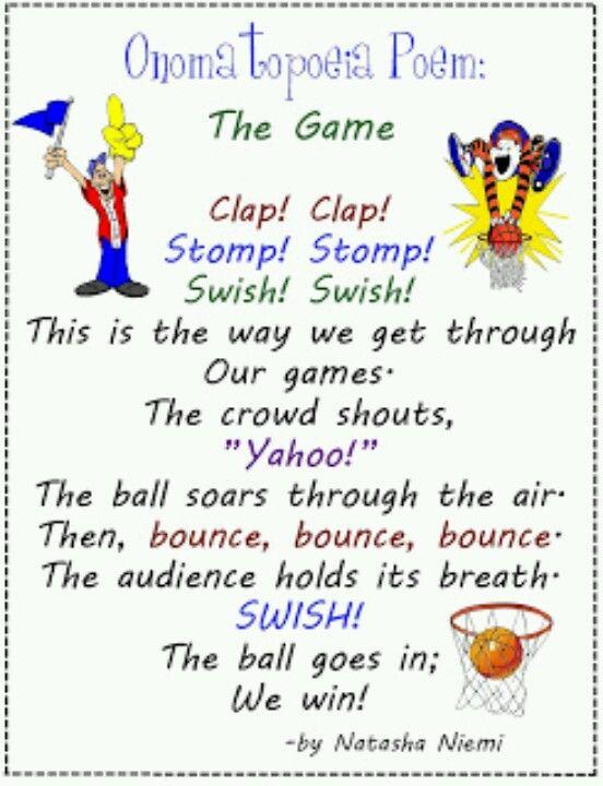 Onomatopoeia Poem The Game Anchor Charts Pinterest Literacy