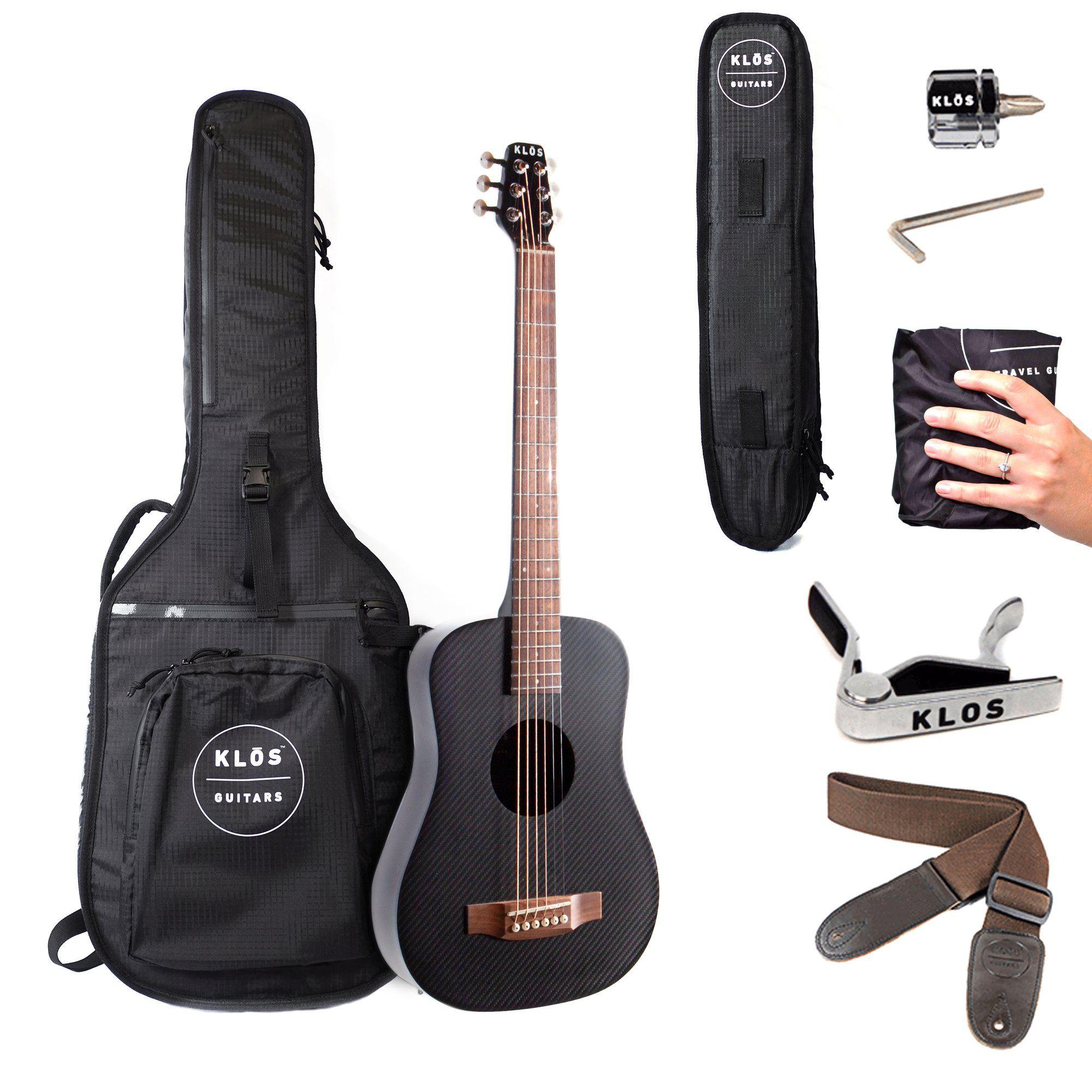 Klos Carbon Fiber Acoustic Electric Travel Guitar B Stock In 2020 Acoustic Electric Guitar Acoustic