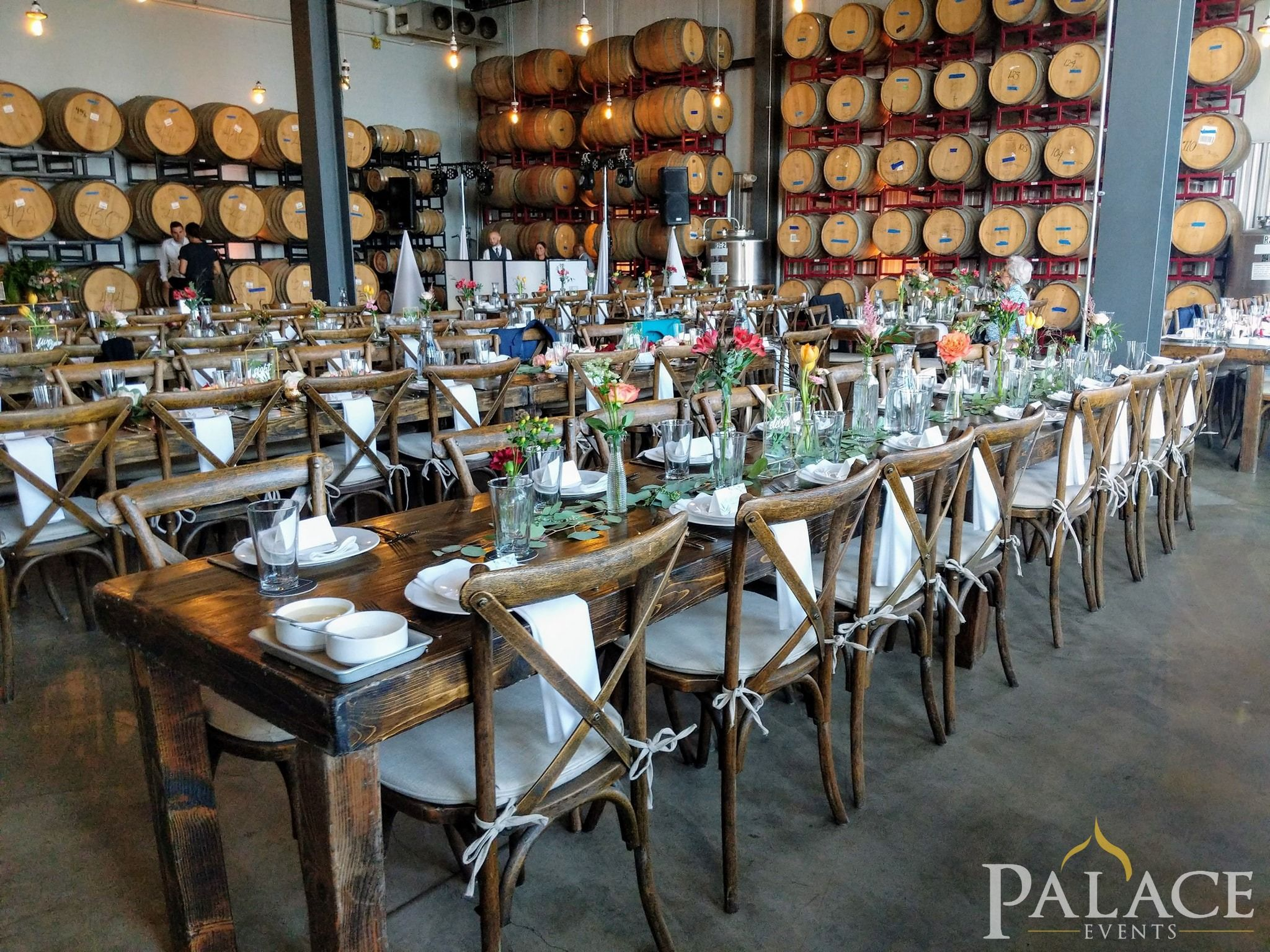 Wedding reception at Destihl Brewery! Tables & chairs