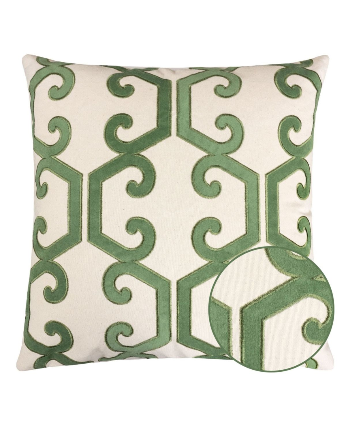 Homey Cozy Carly Applique Embroidery Square Decorative Throw Pillow - Green