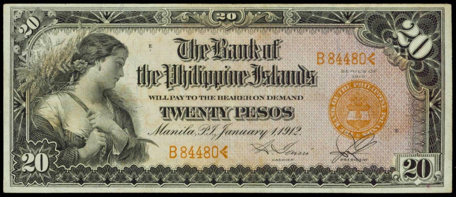 1912 20 Pesos Philippine Bank Note Bank Notes History Pictures