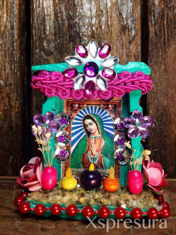 Our Lady of Guadalupe Nicho / Virgen de Guadalupe Handmade Altar / Tonantzin Retablo / Miniature Wooden Shrine / Ornament / Magnet on Etsy, Sold