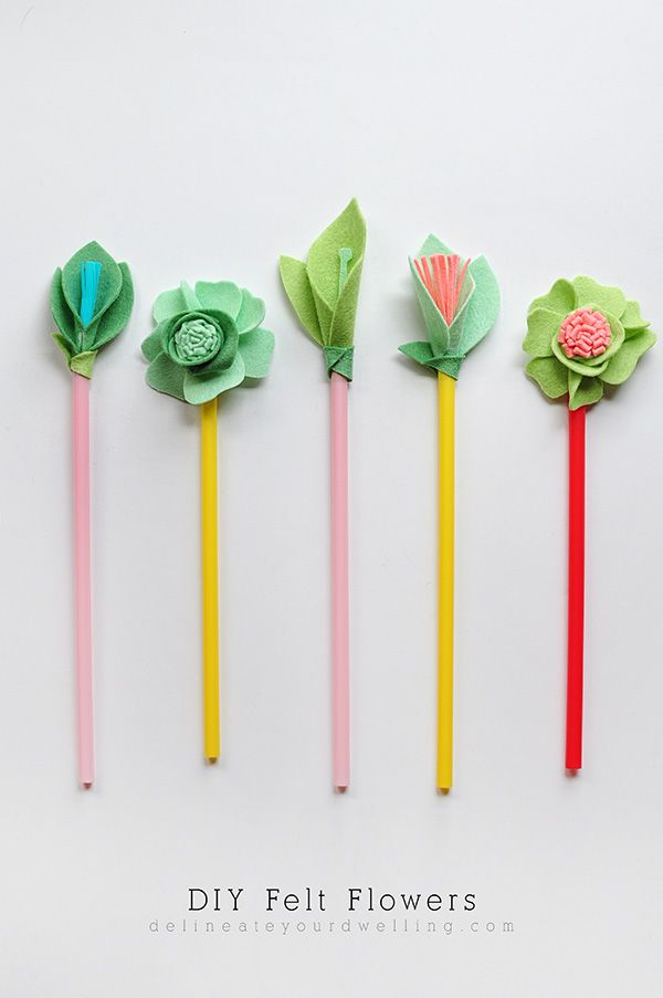Sweet DIY Felt Flowers, perfect for a Mother's Day bouquet - Delineate Your Dwelling