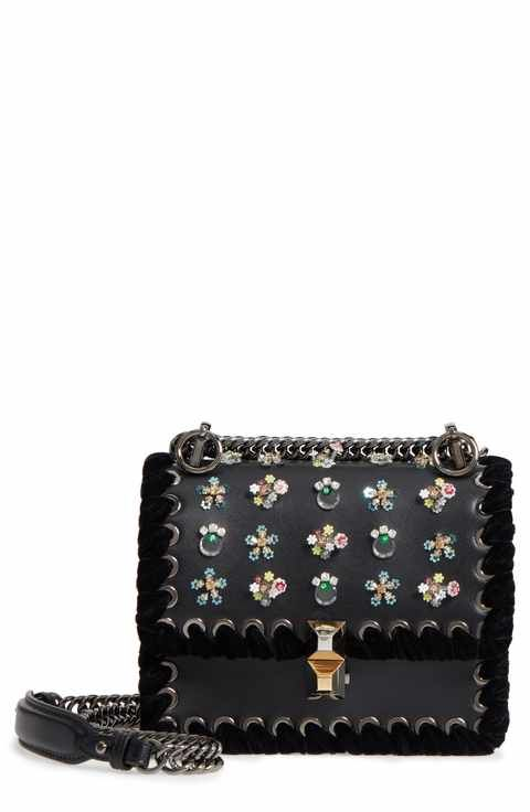 da76d3fb15c Handbags   Wallets for Women. Fendi Mini Kan Beaded Flowers Calfskin  Leather Shoulder Bag