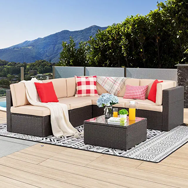 Amazon Com Outdoor Sectional In 2020 Patio Furniture Sets Outdoor Patio Furniture Cover Conversation Set Patio