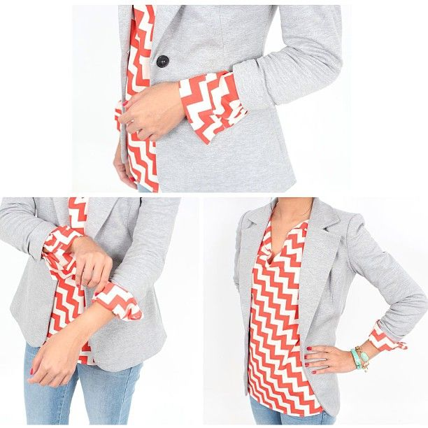 Another way to wear tab sleeves is to pair with a blazer!  To reduce bulk in the arm, unroll the sleeve completely and re-cuff over the sleeve of the blazer for a polished finished style. Chevron is amazing and the blazer is an awesome length and versatile!