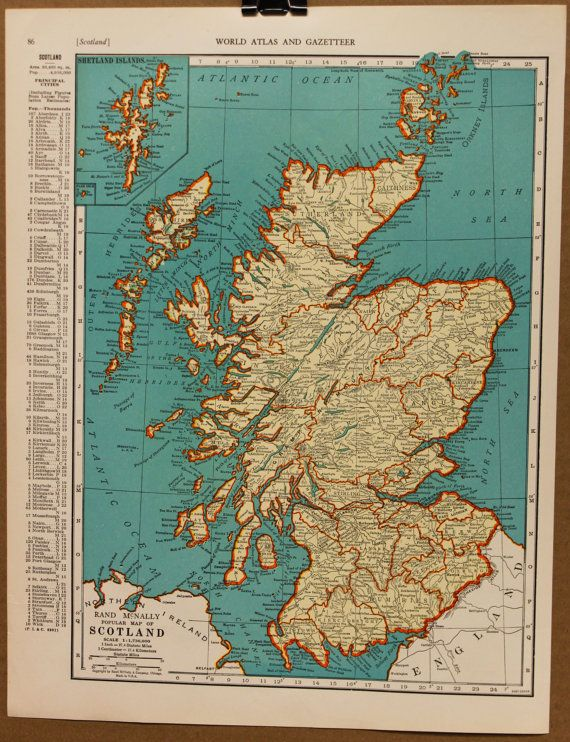 vintage map of scotland taken from a 1935 atlas this is an original vintage map