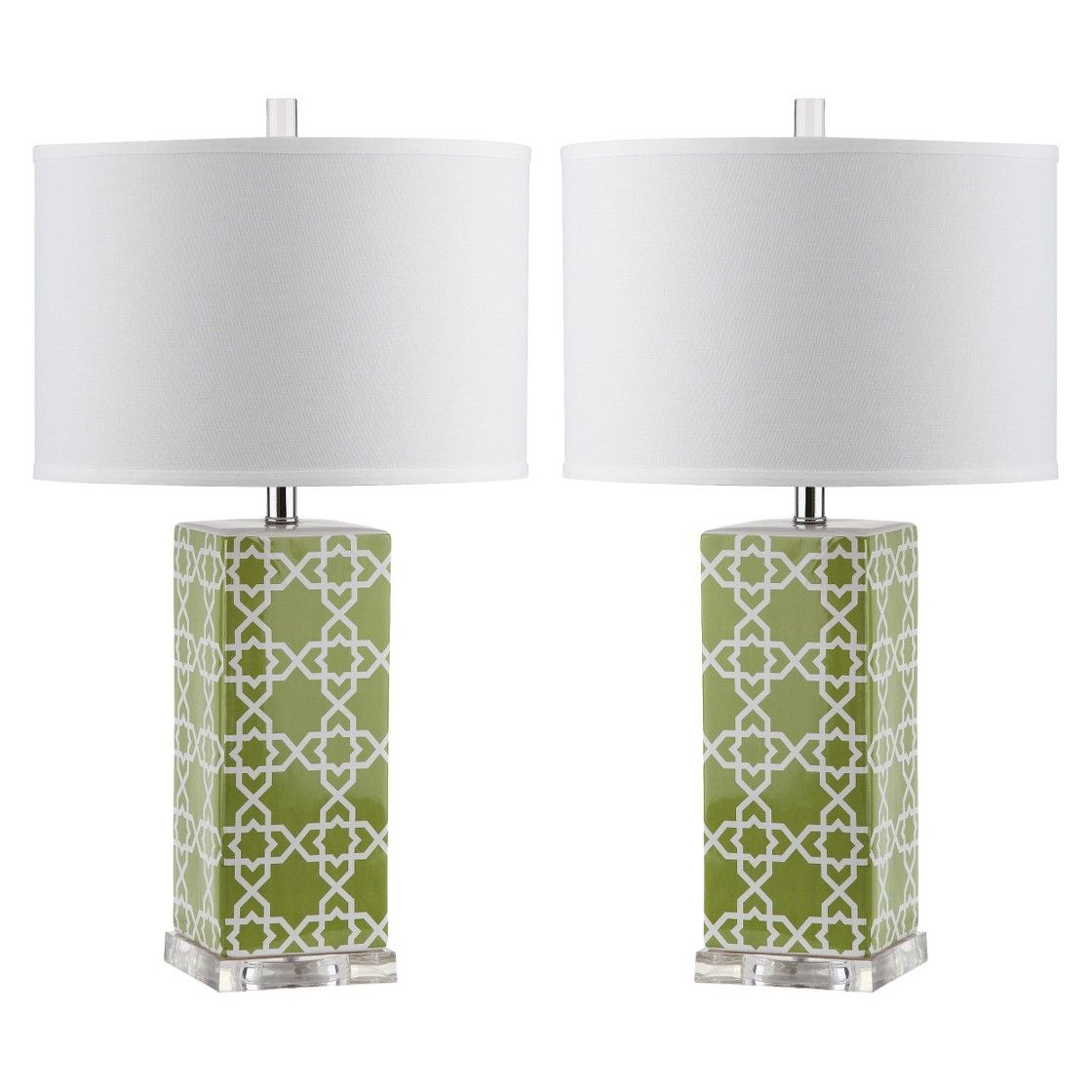 Safavieh Quatrefoil Table Lamp Green (Set of 2) (With