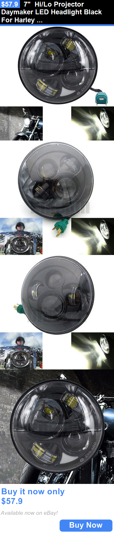 motorcycle parts: 7 Hi/Lo Projector Daymaker Led Headlight Black For Harley Street Glide Touring BUY IT NOW ONLY: $57.9