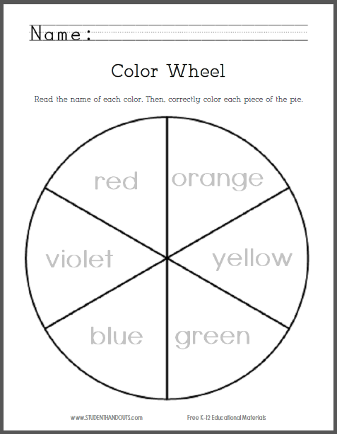 Color wheel worksheet for kindergarten
