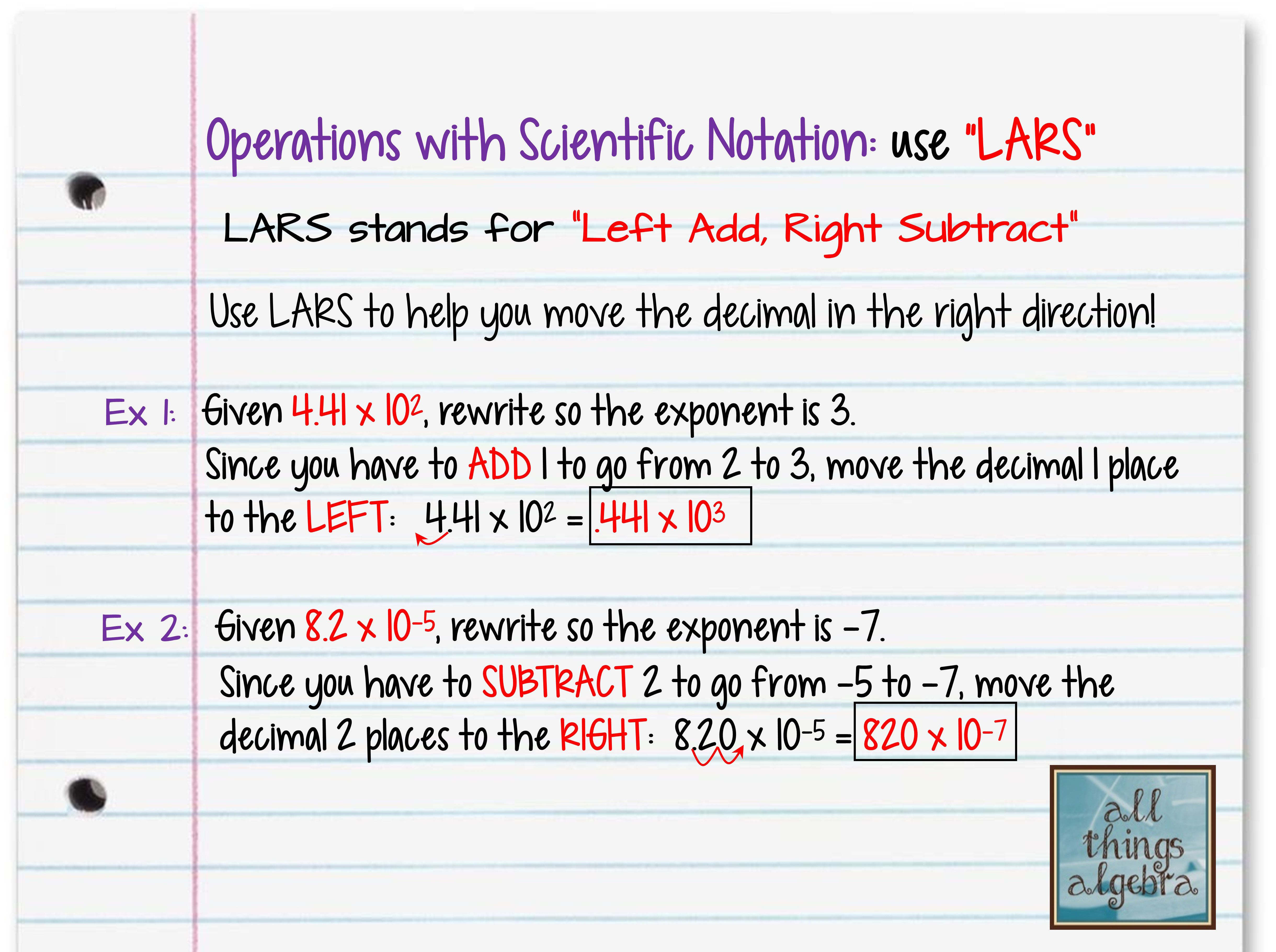 """hight resolution of Operations with Scientific Notation and """"LARS""""   Scientific notation"""