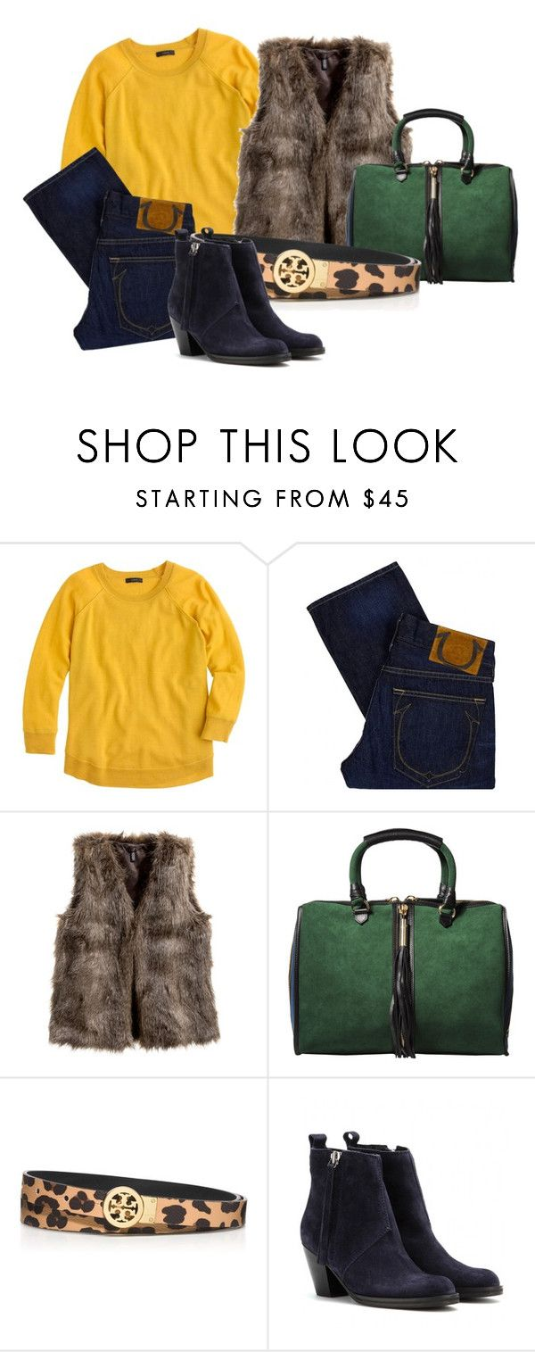 """."" by sarrc ❤ liked on Polyvore featuring J.Crew, True Religion, H&M, A di Alcantara, Tory Burch and Acne Studios"