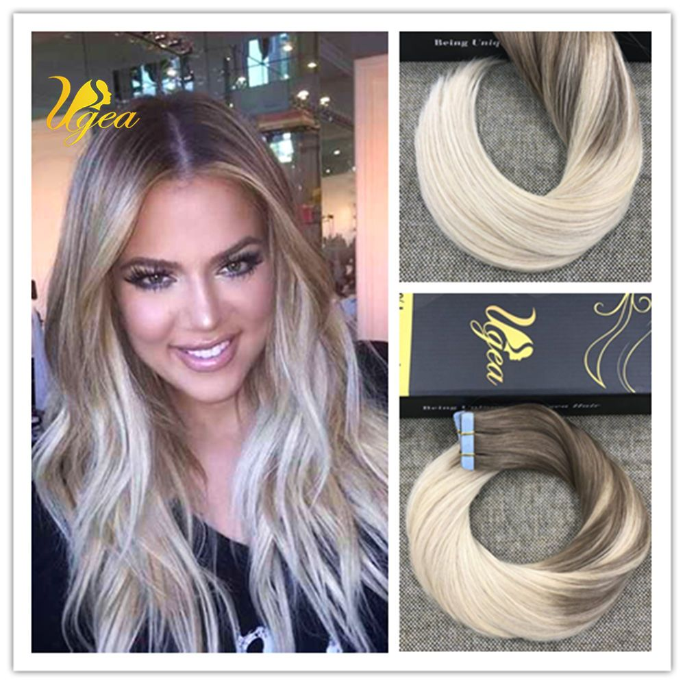 Light Golden Brown To Blonde Balayage Ombre Remy Tape In Human Hair