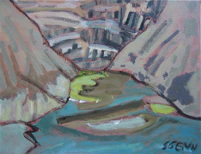 sara genn mirror at lefroy pool lake o'hara 11 x 14 inches acrylic on canvas 2009