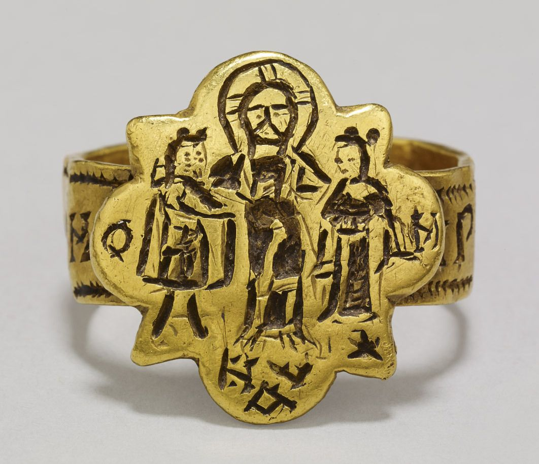 This Byzantine wedding ring from Agrigento, Sicily was