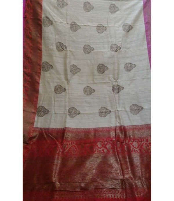Off White Pure Handloom Banarasi Dupion Silk Saree