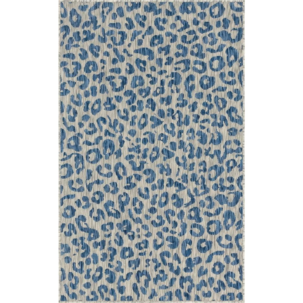 Unique Loom Azure Leopard Outdoor 9 Ft X 12 Ft Area Rug 3145225 With Images Unique Loom Area Rugs Outdoor Area Rugs