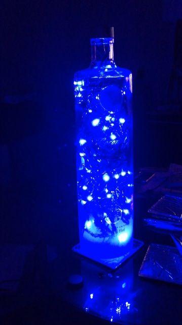 Vodka bottle made into a light