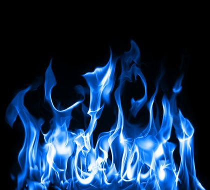 Natural Gas Flame Art Skull Wallpaper Blue Flames