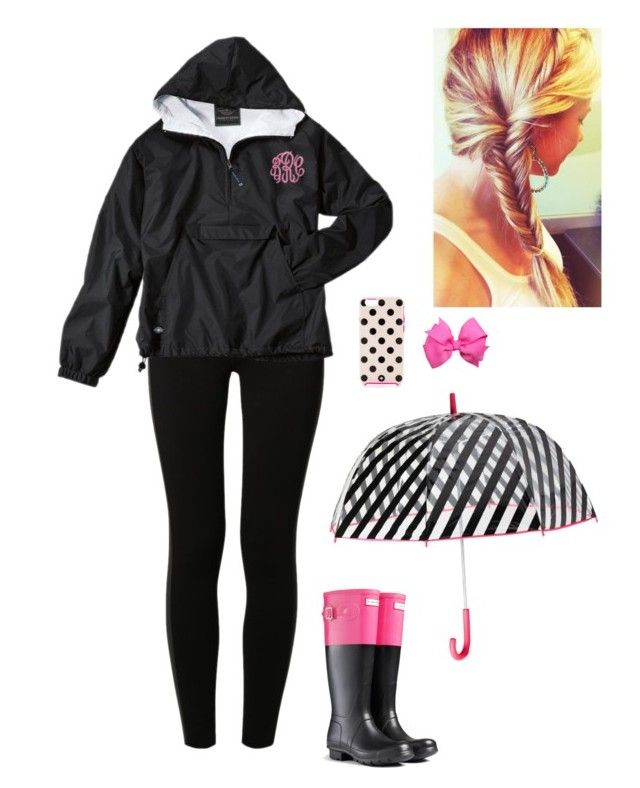"""supposed to be rainy☔️"" by morgantaylor37 ❤ liked on Polyvore featuring NIKE, Hunter and Kate Spade"
