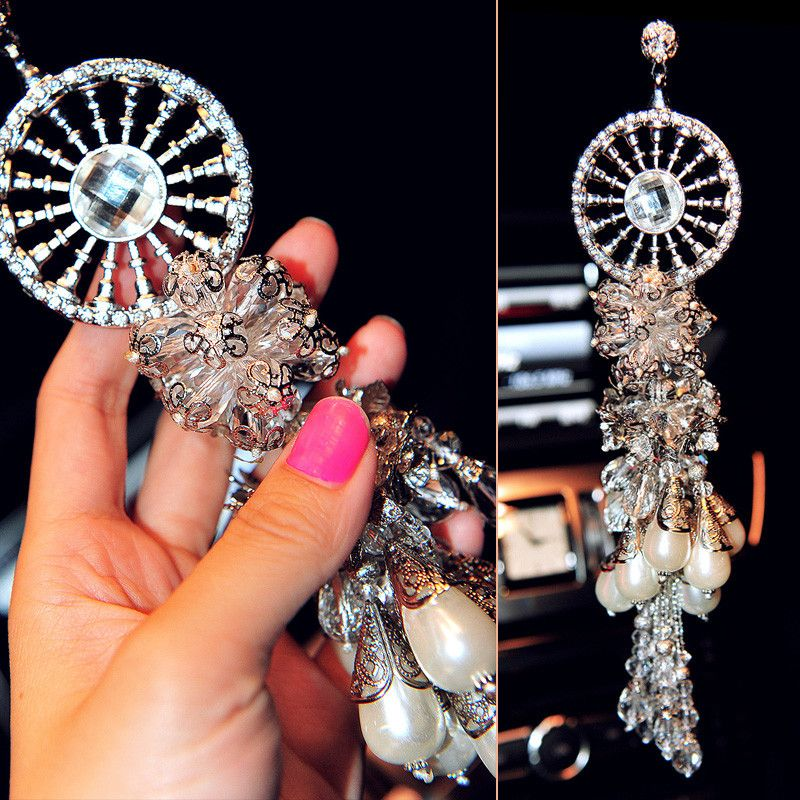 Car Mirror Hanging Charm Crystal Globe With Angel Pendant Mirror