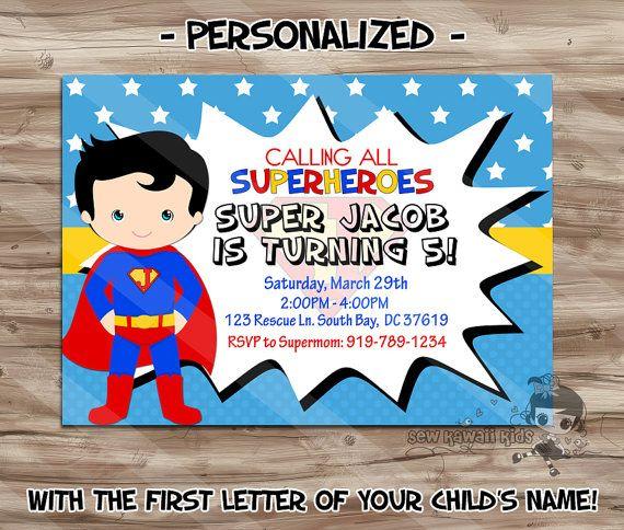 Superman Birthday Invitation Personalized By Sewkawaiikids