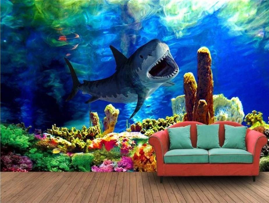 3d Painted Shark Photo Mural Underwater Wallpaper For Home Or Business Underwater Wallpaper Ocean Mural Ocean Wallpaper