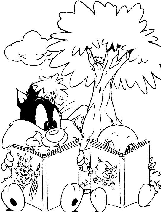 Baby Looney Tunes Reading Book Coloring Page