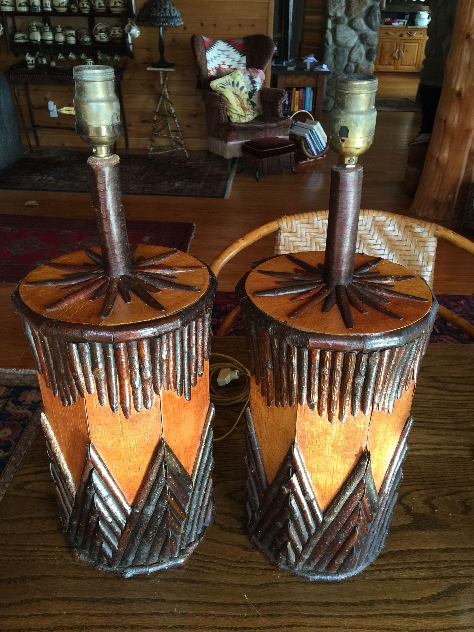 Matching Adirondack Twig Lamps Birch Twig On A Birch Bark