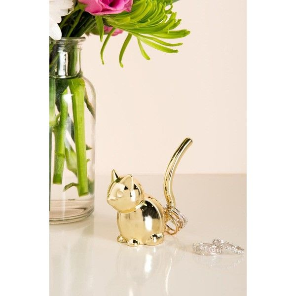 Gold Cat Ring Holder 44 DKK ❤ liked on Polyvore featuring home