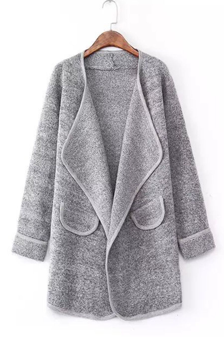 Vintage Gray Long Sleeve Lapel Loose Cardigan | Knit Tops And ...