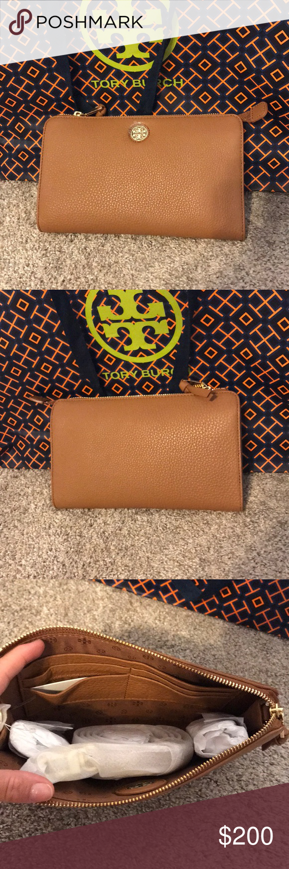 9a8748320b4f Tory Burch Brody Pebbled Wallet Crossbody Bark Brand New Tory Burch Brody  Pebbled Wallet Crossbody Bark