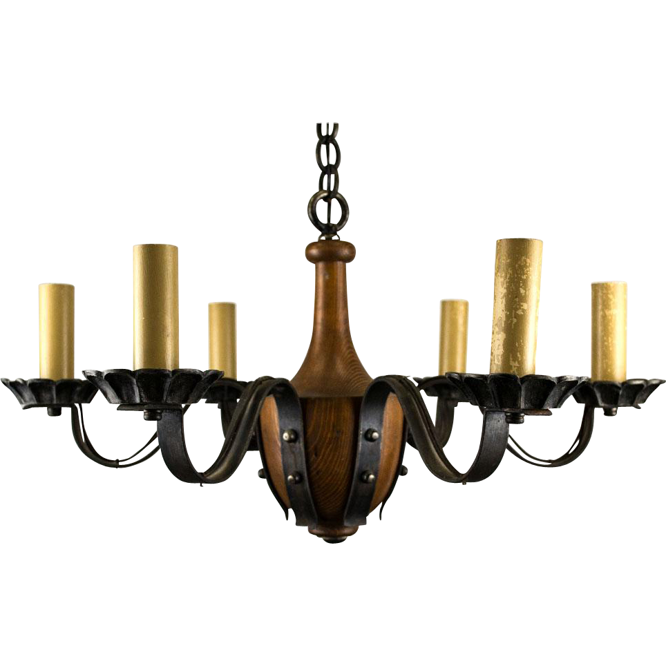 1920s 6 light tudor jacobean iron strap and wood chandelier 1920s 6 light tudor jacobean iron strap and wood chandelier arubaitofo Images