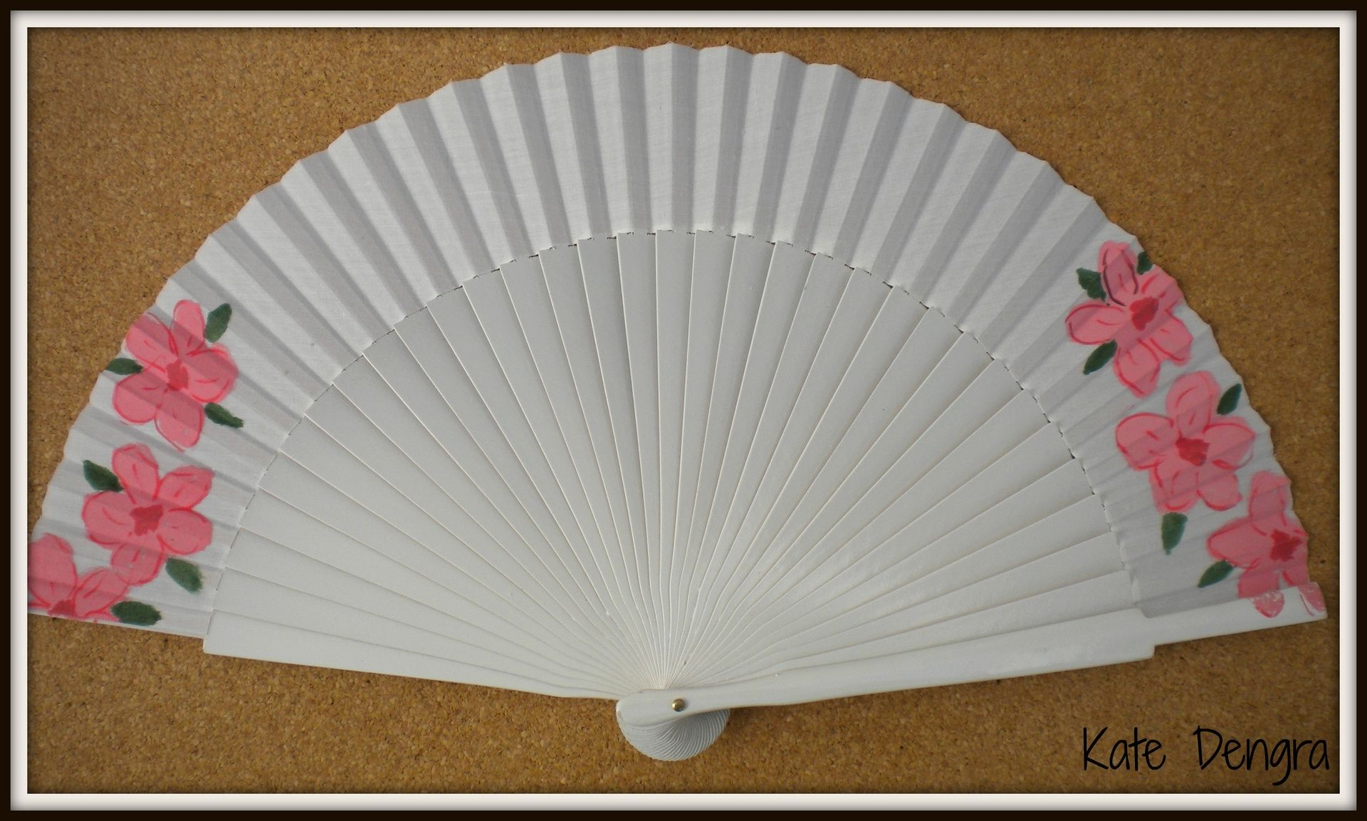 White Pink Flowers hand fan