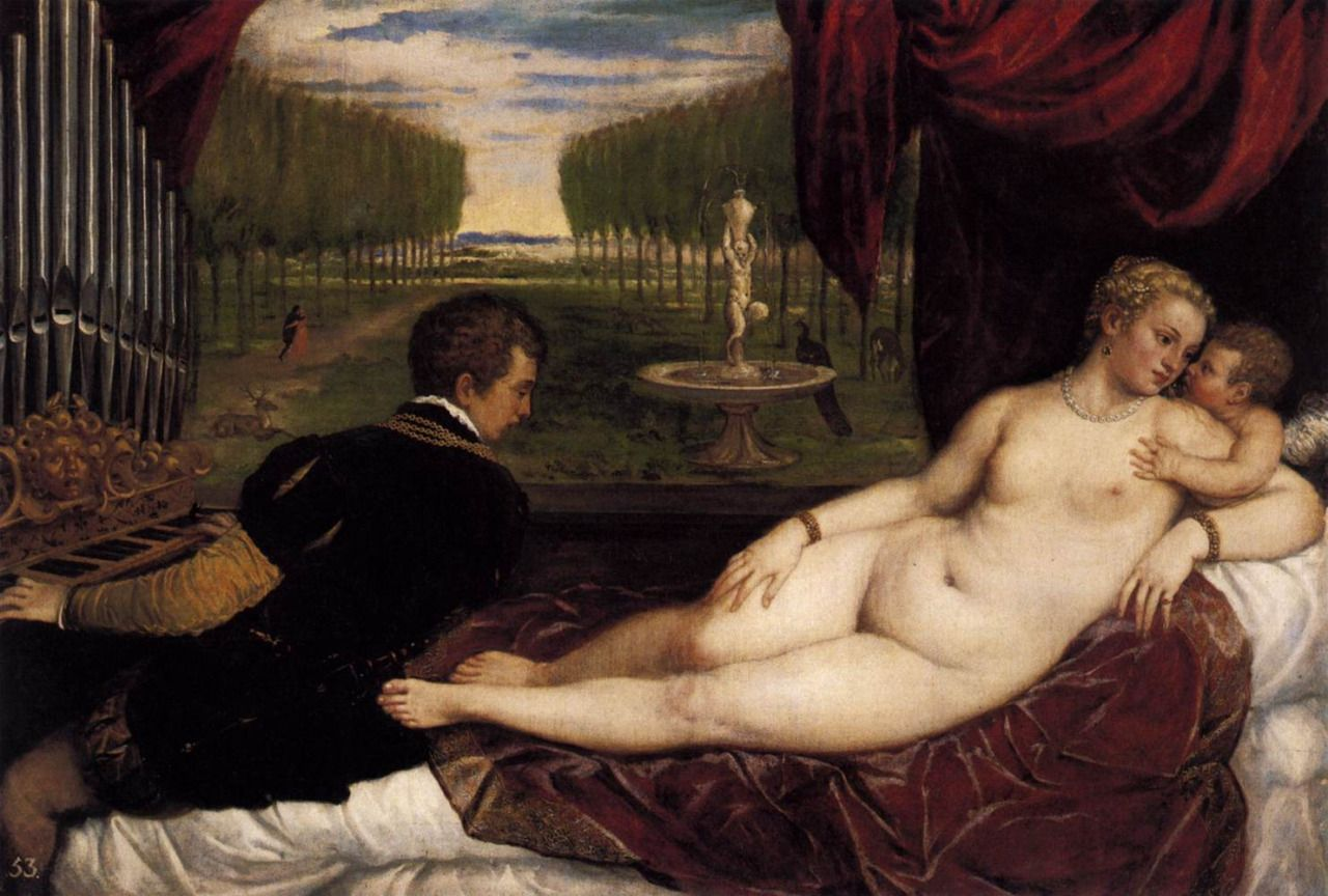 Venus with Organist and Cupid Titian (Italian Oil on canvas. The canvas is dominated by the reclining nude Venus personifying beauty with her full body.  sc 1 st  Pinterest & Venus with Organist and Cupid (1548). Titian (Italian 1490-1576 ... islam-shia.org