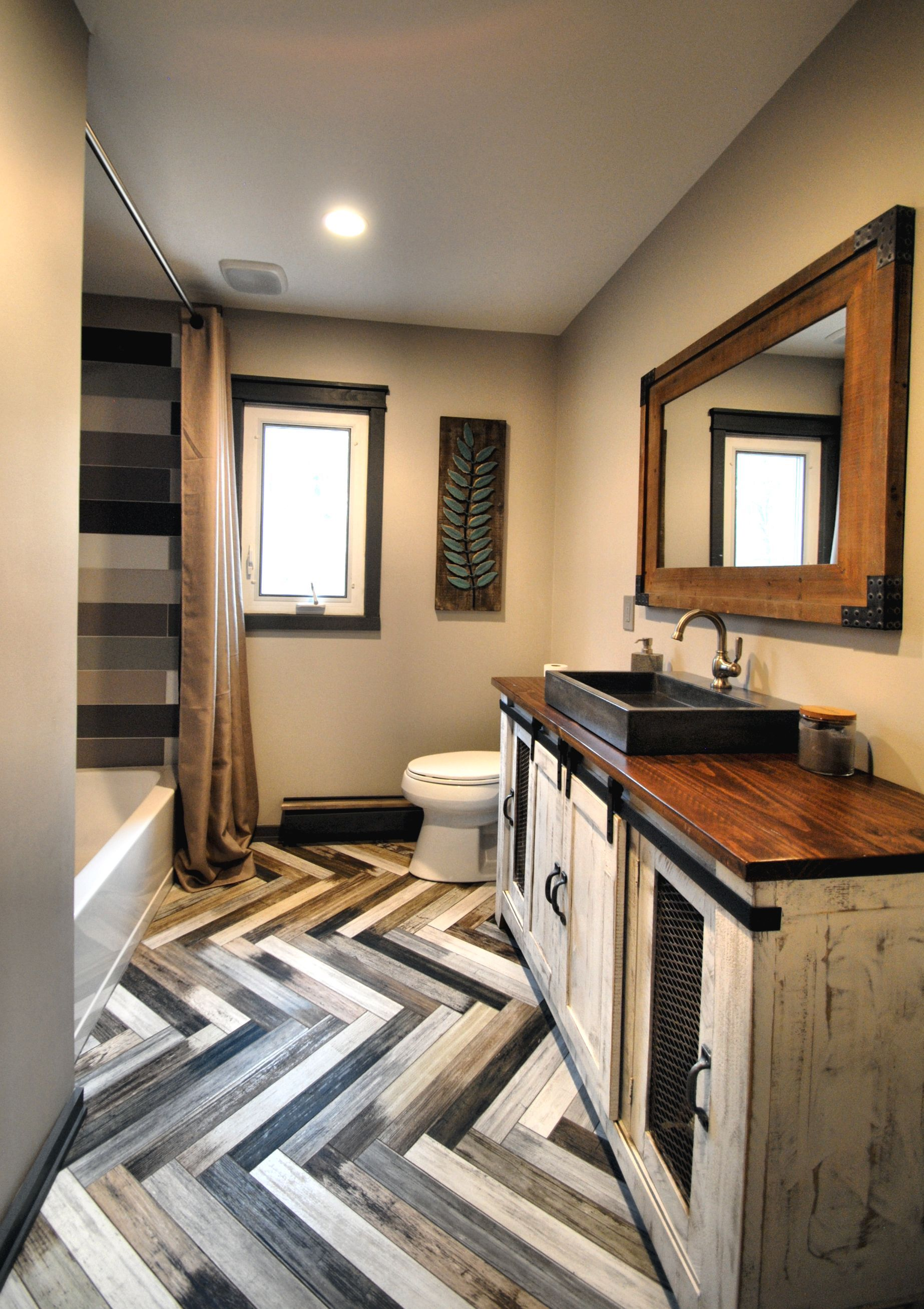 Herringbone Bath Floor Reclaimed wood Vanity multi-colored ...