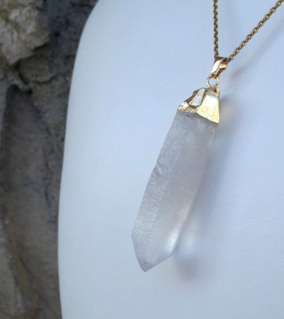 Extra Long Crystal Point Necklace by CombustionGlassworks on Etsy, $22.00