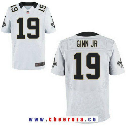 b353794bbe0 Men s New Orleans Saints  19 Ted Ginn Jr. White Road Stitched NFL Nike Elite