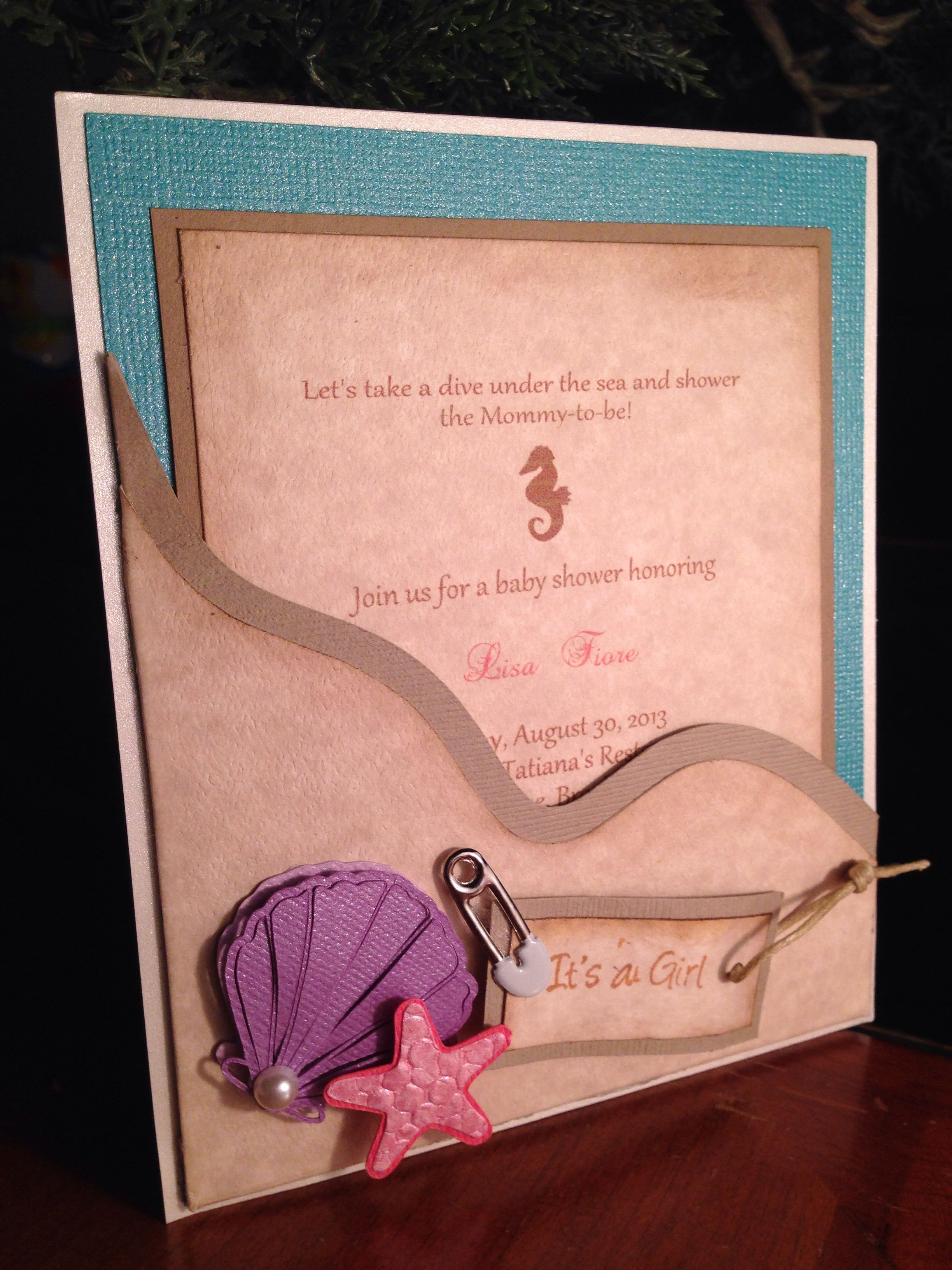 clever baby shower invitation wording%0A Handmade Under the sea Baby Shower Invitation