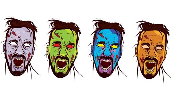 Zombie Face Color Vector Color Vector Zombie Face Free Vector Art