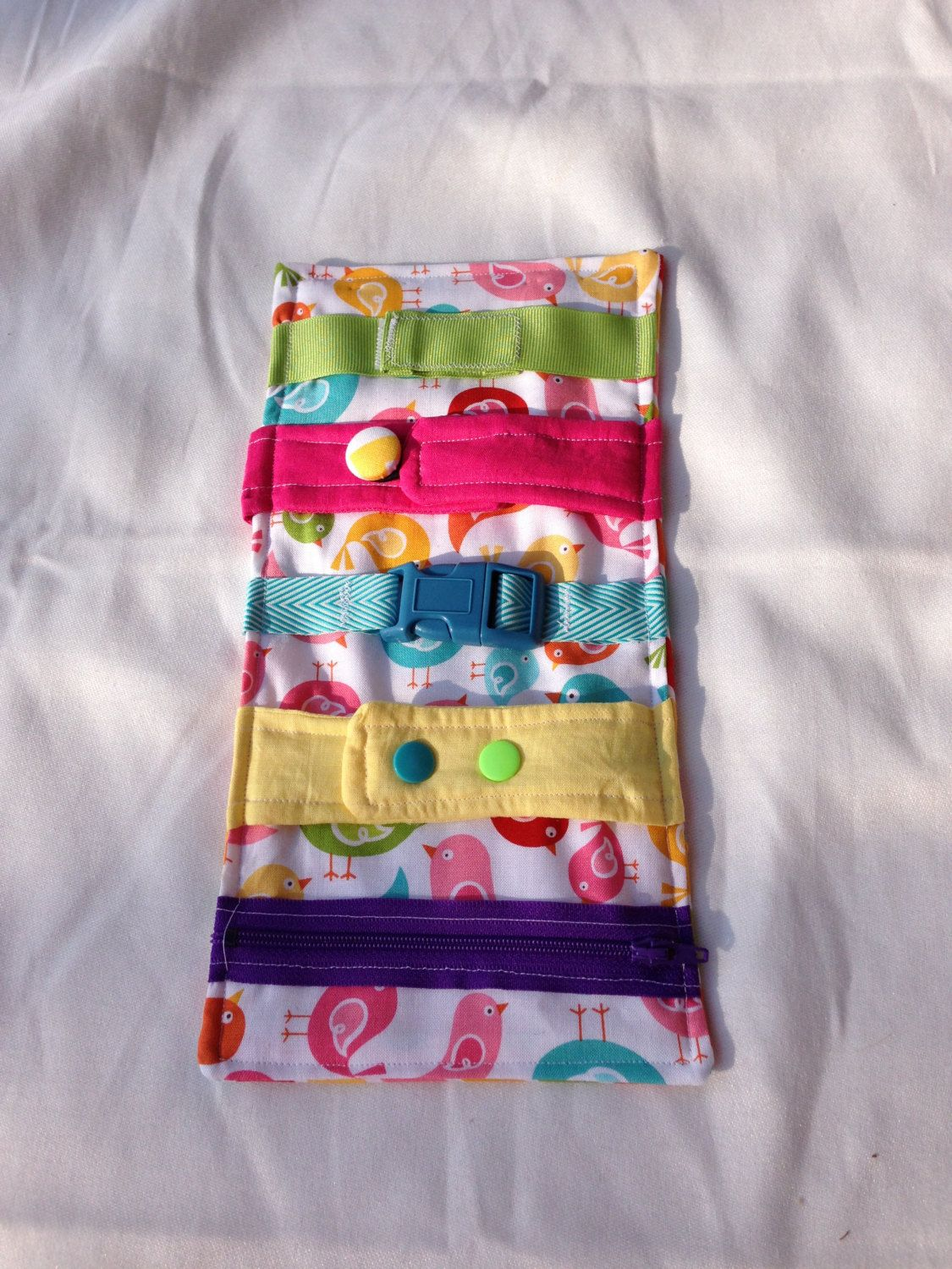 Birds Busy blanket - a buckle, snap, zip, Velcro, and button toy ...