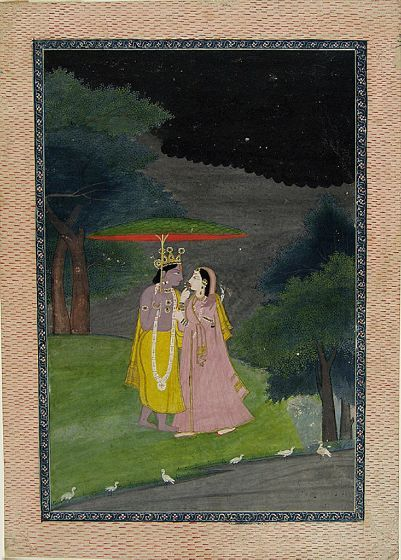 Unknown Artist  Krishna and Radha under a Lotus-Leaf Umbrella, early 19th century  Painting