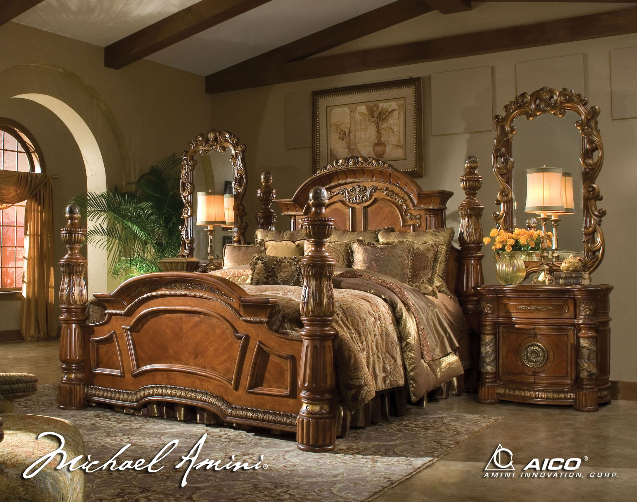 Exceptionnel King Size Bedroom Sets | AICO 5pc Villa Valencia California King Size Low Post  Bedroom Set Minus The Mirrors On The Nighstands