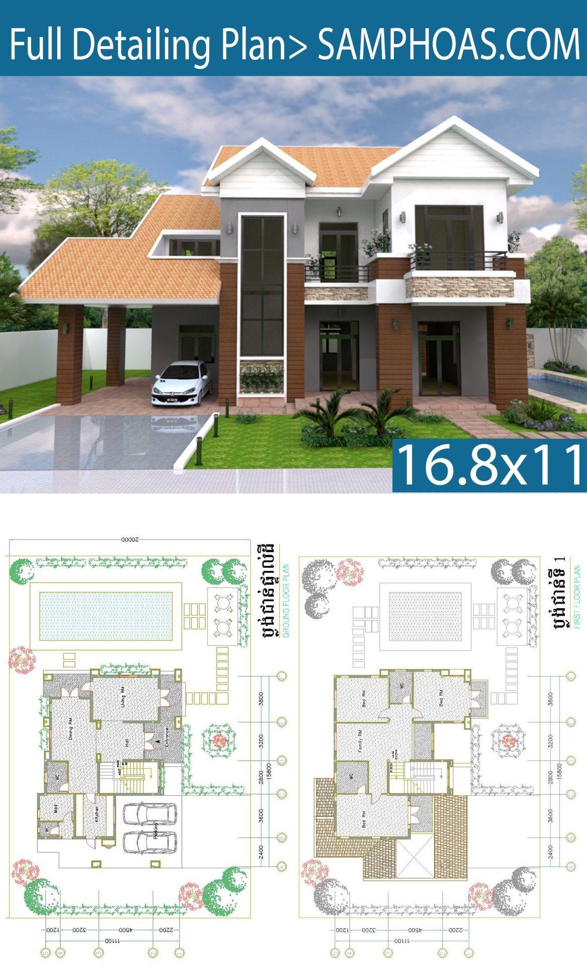3 Bedroom Villa Design 16 8x11m Samphoas Plansearch Villa Design House Architecture Design House Design