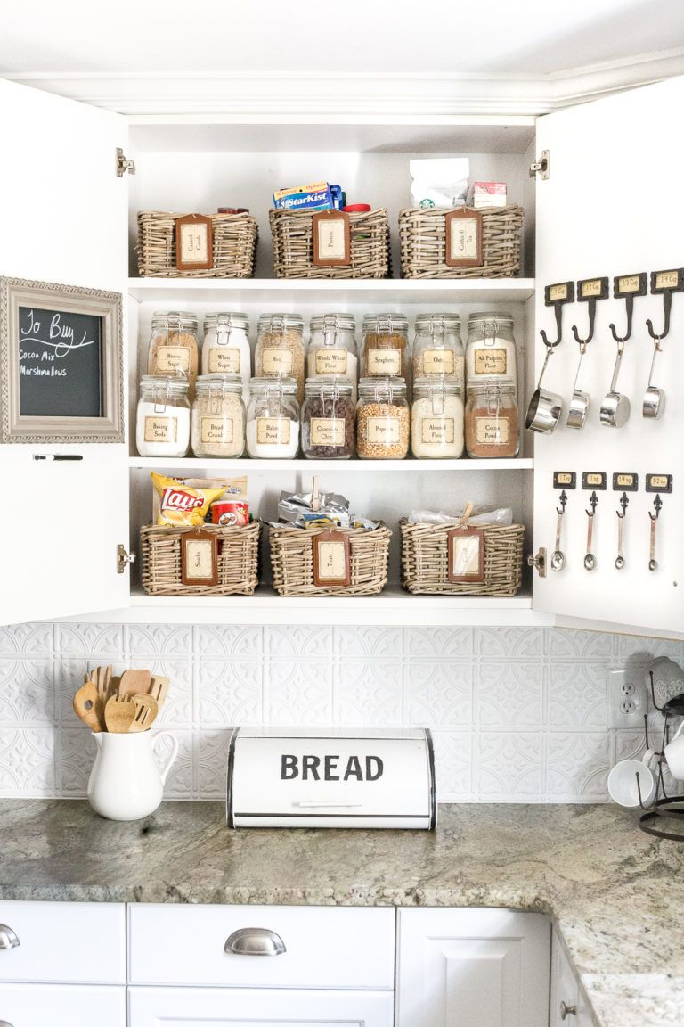 Pantry cabinet organization and free printable label set blesserhouse com a cabinet gets a drastic organization makeover using inexpensive ikea jars