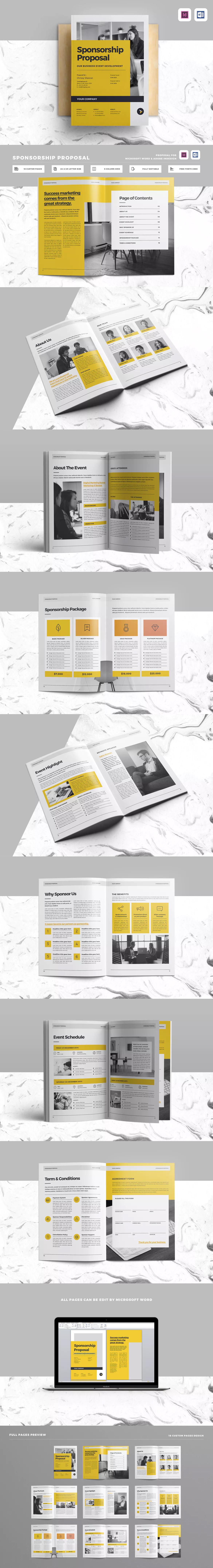 Sponsorship Proposal Template InDesign INDD - A4 & US letter ...