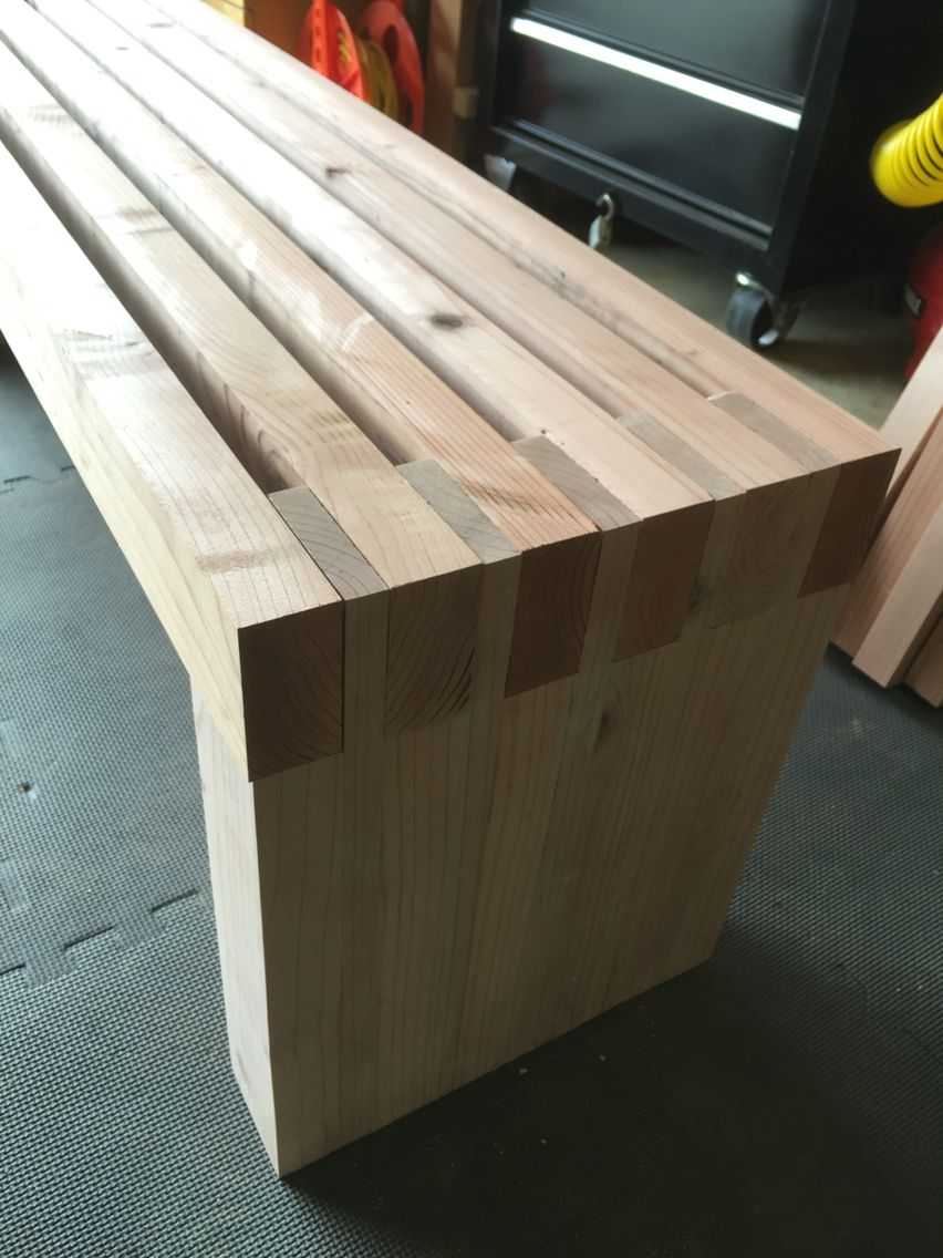 Modern outdoor wood bench - Simple Redwood Slat Bench With Modified 2x4 And 1x4s Poorman S Finger Joint