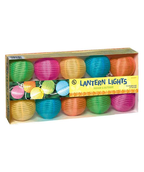 Enlighten a summertime party with this round lantern set. Simply string the lights in an entryway or porch, and enjoy the cheerful glowing colors as the sun goes down.9' longPaperImported