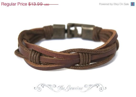"ON SALE Men Leather bracelet - Rustic-Brown - Gift for Him -""Raw Leather"" multi strand - unisex on Etsy, $12.59"